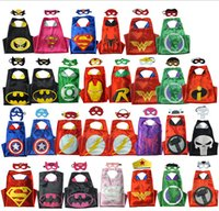 Wholesale Superhero Cape CAPE MASK Children s Cosplay Double layer back Super Hero Costume for Halloween Party Costumes Child Costume NEW HERO ARRIVE