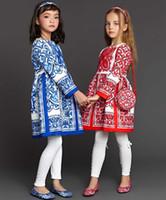 achat en gros de mousson filles robe blanche-2016 Nouveau Automne Printemps Wl mousson Robes filles bleu et jacquard fleur blanche à manches longues Robes Enfants High Grade Mode Robes