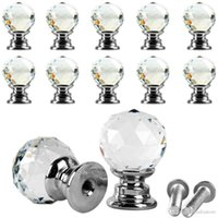 Wholesale 10Pcs Beauty Crystal Glass Door Drawer Cabinet Wardrobe Pull Handle Knobs E00043 SMAD
