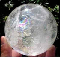 Wholesale NATURAL RAINBOW CLEAR QUARTZ CRYSTAL SPHERE BALL HEALING GEMSTONE35 MM STAND