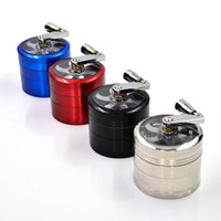 Wholesale Hand Crank Herb Grinders mm Layers CNC Teeth Magnetism Mental Smoking Grinders Zinc Alloy For Tobacco