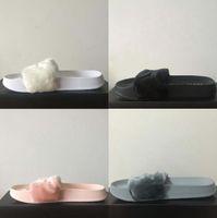Wholesale Send With Original Boxes Women Slippers Indoor Sandals Girls Fashion Scuffs Pink Black White Grey Slide