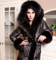 plus size dropship - 2015 new womens fox fur down coat women s fur coat ultralarge thickening plus size hood luxury down coat jacket Dropship
