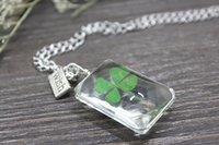 ball time - Lucky Clover Glass Ball pendant handmade jewelry necklace hand dried flower necklace charm necklace female Time