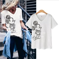 Wholesale 2016 summer new loose V neck printed short sleeved T shirt female cartoon Mickey Mouse T shirt Plus size