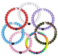 Wholesale Shark Neon Silicone Bracelet Mud and Water Black and White Beads Silicone Bracelets Fashion Gift Jewelry Find Your Balance
