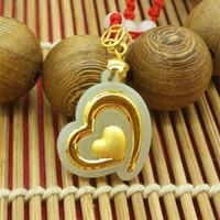 Wholesale Boutique pendant hot style Hetian white jade K gold pendant necklace heart shape love peach size cm cm cm Lockets