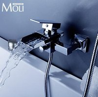 Wholesale Wall mounted bath shower faucet bath tub taps square waterfall bath mixer
