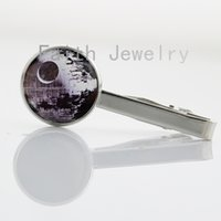 Wholesale Death Star tie clips case for Star Wars Jewelry Da Vinci Charm Necktie Bar Clasp Clamp Pin cool men accessories Starwars NS189