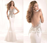 Wholesale 2017 Hot Sale Sheer Tarik Ediz Formal Evening Gowns Sexy Illusion Crystals Rhinestone Backless Mermaid Vintage Pageant Prom Dresses TE93029