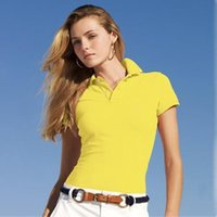 Wholesale 2016 polos women Summer Style Fashion Casual Designer Women s Polo Shirts Lady s Short Sleeve Tees Women Polo tee shirt tops woman t shirt