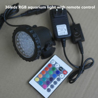 Wholesale leds RGB Waterproof IP68 fountain pool Lamp W Aquarium Fish tank Light for Swimming Pool Pond Light with remote control
