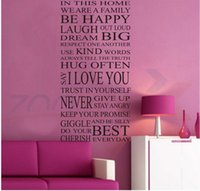 Wholesale Family wall stickers house rules in this house we are family creative quote wall decal decorative vinyl home Decoration Mural