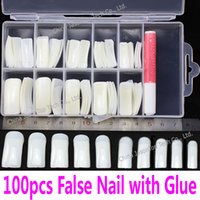 acrylic plastic glue - False Nails with Glue amp Case Set Acrylic Artificial Fake Nails Half Cover Full Cover White Natural Transparent Skin