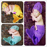 Wholesale Newborn Baby Sleeping Bag New Hand Knit Crochet Mermaid Tail Sleeping Bag With Hat Set Infant Mermaid Costums Photography Props