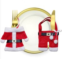 Wholesale New Xmas Decor Lovely Snowman Kitchen Tableware Holder Pocket Dinner Cutlery Bag Party Christmas table decoration cutlery sets cc765