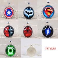 asian lanterns - Brand Designer Jewelry Choker Necklace Glass Pendant Spider man Superman America Captain Green Lantern The Flash Anime Time Gem Pendants