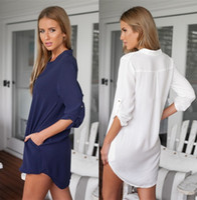 Wholesale Women s Clothing dress Casual shirt pocket Blouses Shirts Loose shirt Large size women Chiffon clothes Summer dresses skirt z24