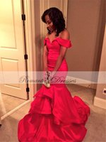 Wholesale New Arrival Custom Made Off The Shoulder Mermaid Sexy Prom Dresses Long Red Satin Evening Party Dresses