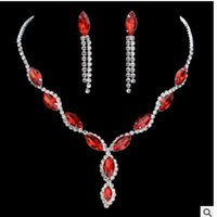 Chaming cristal rouge set diamant blanc necklaace earings 168