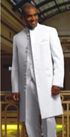 nouveaux styles pour smoking pour hommes achat en gros de-New Style Long White Groom Smokings stand Collar Suits Best Man Groomsmen Hommes de mariage (veste + pantalon + veste + Tie) AA175
