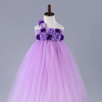 Wholesale 2 Color Flower Girls Dresses for Wedding Pink purple Kids Children Ball Gown Pageant Party Flower girl dress y Shoulder flower dress