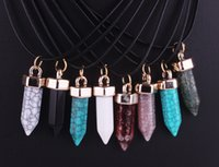 amethyst vintage - Fashion Women Vintage Bullet Imitate Natural Stone Quartz Necklace Pendant Choker Amethyst Turquoise Rope Chain Jewelry Bijoux b302