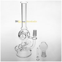 Wholesale Two Function inch Mini Oil Rig Glass Bubbler Glass Bong Inline to Donut Oil Rig Percolator mm Male joint Size Glass Water Pipe