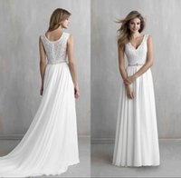 band shirts custom - 2016 Beach Wedding Dresses Bridal Gowns V neck Lace Bodice A Line Court Train White Chiffon Bride Dresses with Beading Waist Band