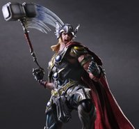 Wholesale 27Cm Play Arts Kai Thor Acttion Figure Collection Pvc Model Toy With Thor Hammer High Quality Superhero Figure