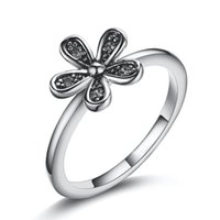 Wholesale Fashion Sterling Silver Flowers With Crystal European Charms Pandora Jewelry Rings For Women Birthday Wedding Anniversary Gift