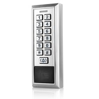 access single - 125KHz ID Card Single Door LED Backlight Keypad Metal Standalone Access Control WG26 Silver F1208D