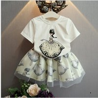 Cheap 2016 Girls Cute Cartoon Charcter Printed Two Pieces Set Childrens Summer Wholesale Clothing Short Sleeve Cotton T-shirt And Tutu Skirt Set