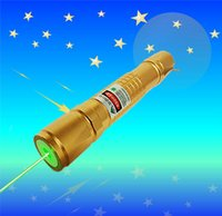 Wholesale Golden nm green laser pointer mw pen adjustable focus lit match Leisure keyed for meters green laser