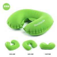 airplane headrest pillow - Inflatable Pillow Car Headrest U shaped Little Space Airplane Pillow Fluorescence Blowing Green