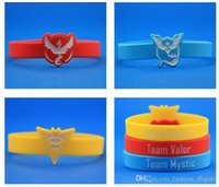 Wholesale Red Yellow Red poke Go Silicone Bracelet Pocket Monster team Wristbands Ball Pikachu Squirtle valor mystic instinct logo Bracelet bangles