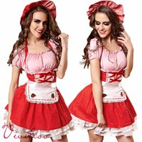adult aprons - Adult Maid Sweet Dresses Sexy Red Lace up Halter Apron Dresses Ladies Christmas Halloween Maids Costumes Party French Maid Cosplay Dresses