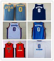 Wholesale NWT OKC Russell Westbrook Basketball Jersey Shirt White Orange Blue UCLA Bruins Westbrook College Uniforms Cheap Good