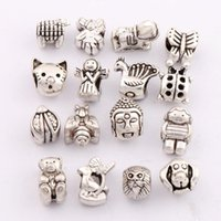 bead dogs - 160psmixed Antique Silver Angel Buddha Head Cat Bear Bee Dog Bird Charm Loose Beads Alloy Dangle Fit European Bracelets Jewelry DIY LM15