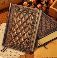 Wholesale 2016 New Vintage Classic Retro notebooks Embossed Plaid PU Leather Framed Notebook Diary journal books korean stationery gifts