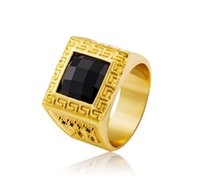 bars rap - Good Quality Hip Hop Bling Rings Square Black Rhinestone Set Men K Gold Plated Punk Rap Finger Ring Cool Night bar Jewelry