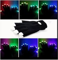 al por mayor delirio se iluminan-Guantes de flash LED 7 modo de luz hasta la danza de fantasmas Negro Bar rendimiento de la escena colorido delirio luz de los dedos guantes de iluminación resplandor OOA291