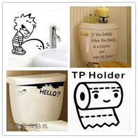 bathroom shower tile designs - Peep Wizard IF YOU TP Holder boy Carved toilet wall sticker wall decor Home Decoration for bathroom kidsroom Shower Room Wallpaper