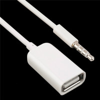 al por mayor aux usb conversor de coche-3.5mm macho AUX audio enchufe jack a USB 2.0 hembra conversor cable cable coche MP3