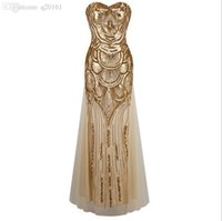 Wholesale 2016 fashion long golden dress sequins bind strapless evening dress with elegant cultivate one s morality dress Club ball gown