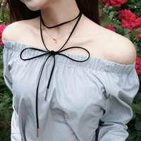 Wholesale Black Faux Suede String All Match Extra Long Necklace Fashion Simple Style OEM ODM DHL