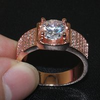 Wholesale Fashion Men s domineering Large K Rose Gold sterling silver Simulate Diamond CZ gemstone Ring Boys gift SZ