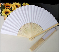 Wholesale Paper Hand Fans White Chinese Fan Wedding Bridal Dance Accessories cm Home Decorations Hollow Wood Holding Fan WFS006
