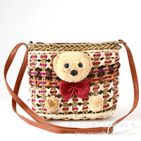 bearing body - Newest original women s handmade teddy bear shoulder bag Messenger cross body bags Summer beach bag Factory direct sales