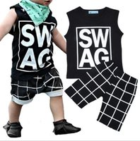 baby vest sets - NWT Cute Cartoon Baby Girls Boys cotton Outfits Summer Sets Boy Cotton SWAG Tops Shirts Vest Checker plaid Harem Pants shorts legging